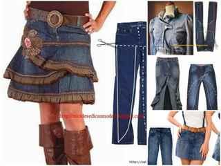 Сшить юбку из старой джинсовой юбки 113