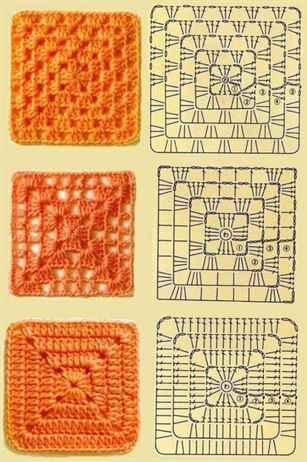 Вязание афганский квадрат крючком 306