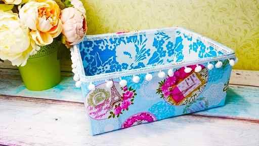 Как обшить картонную коробку тканью своими руками под игрушки 95
