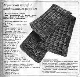 Схема шарф спицами мужской