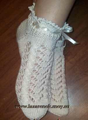вязание крючком носки ажурные